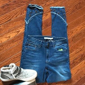 Tractr high rise skinny blue jeans